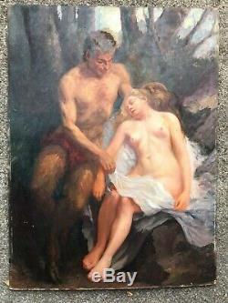 ANCIENNE PEINTURE SUR CARTON FIN 19ème FAUNE ET BACCHANTE art érotique 19th