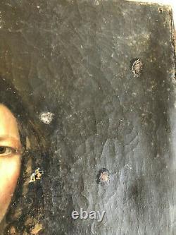 ANCIEN PORTRAIT DE FEMME HUILE SUR TOILE EPOQUE 19ème louis philippe 19th hst