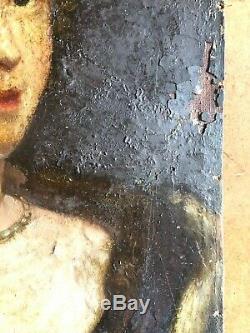 ANCIEN PORTRAIT DE FEMME HUILE SUR TOILE EPOQUE FIN 17ème 17th