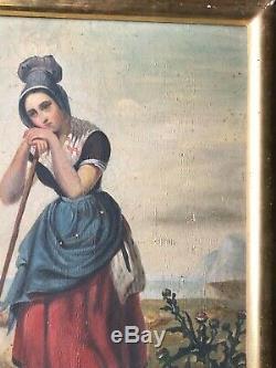 ANCIEN PORTRAIT FEMME BERGÈRE HUILE SUR TOILE EPOQUE 19ème 19th