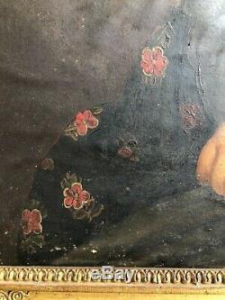ANCIEN PORTRAIT FEMME HUILE SUR PAPIER XIXème empire 19th