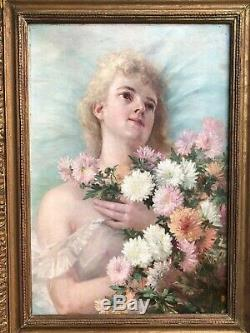 ANCIEN PORTRAIT FEMME HUILE SUR TOILE SIGNÉ P. LESME 1891 XIXème 19th
