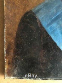 ANCIEN PORTRAIT HOMME FRANC-MAÇON HUILE SUR TOILE FIN 19ème 19th hst