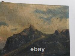 ANCIEN TABLEAU HUILE SUR TOILE PECHEURSIGNE ANGARS OU ANGERS DU XIX ème