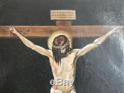 ANCIEN TABLEAU HUILE sur TOILE CHRIST sur La CROIX D'après Diego Vélasquez