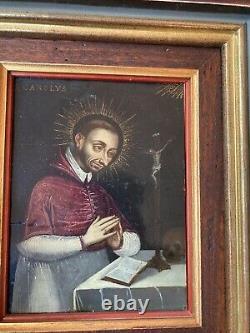 ANCIEN TABLEAU PEINTURE RELIGIEUSE SUR CUIVRE RELIGIOUS S Carolvs 18 Eme