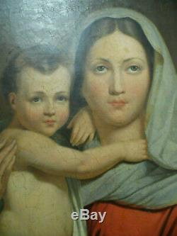 ANCIEN TABLEAU RELIGIEUX huile sur toile 84 cm X 72 cm