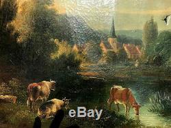 ANCIEN Tableau 18 ème / Huile Sur Toile Superbe / 59,5 X 81,5 cms
