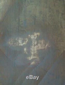 ANCIEN Tableau Huile sur Toile Élégante Vieille Femme assise Fin XIXe début XXe