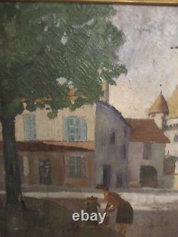 A Gaetan, Ancienne Peinture Huile Sur Toile Datee 1949
