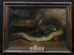 A. LAMBERT (19e) Ancienne huile sur toile Nature morte au poisson HST marine