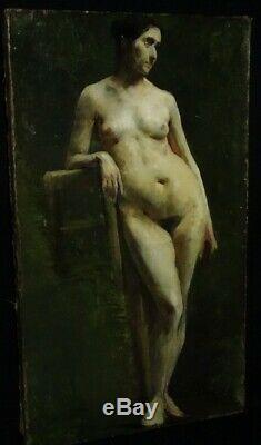 Académie Nu féminin Huile sur toile Tableau ancien
