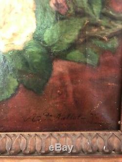 Adelaïde Ballot (xix-xxème) Alégorie Mondaine, 1870 tableau ancien huile sur toi