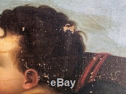Amour Dans les Nuages Huile sur Toile XIX ème Siècle Peinture Ancienne Ange HST