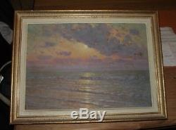 AncienTableau Ancien Huile Paysage Marine CHABANIAN coucher de soleil sur MER
