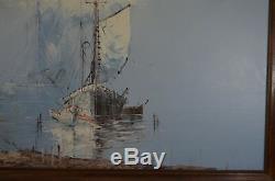 Ancien Cadre Bois Peinture Sur Toile Huile Signe Nature Mer Bateaux Plage Phare