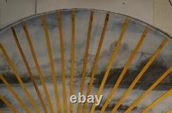 Ancien Grand Éventail 1.25 M X 2.15 M Plie Peint Main Huile Sur Toile Tableau