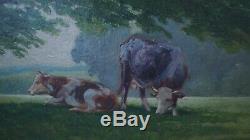 Ancien Tableau Champêtre Vaches Campagne Peinture Huile Sur Carton Signe