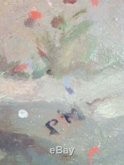 Ancien Tableau Enfants sur un Chemin Peinture Huile Toile Antique Oil Painting