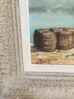 Ancien Tableau Huile Sur Panneau Maurice Barle Matin À Saint-Tropez
