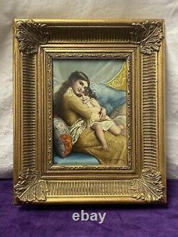 Ancien Tableau Huile Sur Panneau Portrait Mère Et Fille Daprès Émile Munier