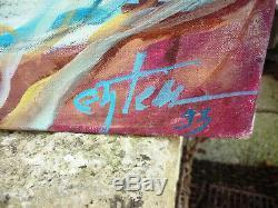 Ancien Tableau Huile Sur Toile Nu Feminin Nue Femme Signature Entem