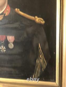 Ancien Tableau Huile Sur Toile Portrait Militaire Signe