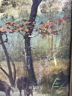 Ancien Tableau Huile Sur Toile Scène Chasse Sanglier XIXeme