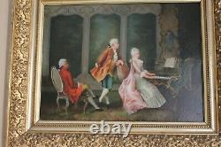 Ancien Tableau Huile Sur Toile XIX ÈME Signé M. Moreau D'après Sévigné