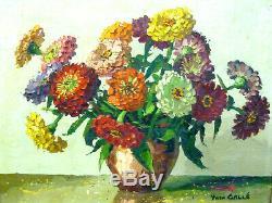 Ancien Tableau Huile Sur Toile Yvan Galle Nature Morte Bouquet Fleurs
