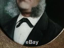 Ancien Tableau Huile sur Toile Élégant Portrait d'un Homme du XIXe Non signé
