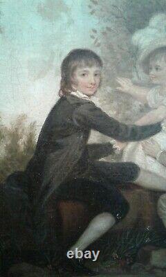 Ancien Tableau Huile sur Toile. Les enfants. Fin18e. Suiveur Joshua Reynolds