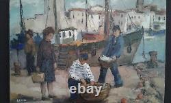 Ancien Tableau Huile sur Toile Port de La Rochelle. 60/70
