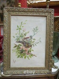Ancien Tableau Huile / toile XIXe oiseaux mesanges sur la branche fleurs