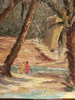Ancien Tableau Orientaliste Huile Sur Panneau 1950 COSTAL J. L old Painting
