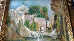 Ancien Tableau Orientaliste Huile Sur Panneau Sidi Barkat Biskra Algerie