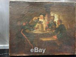 Ancien Tableau, Peintuire, Huile Sur Toile, Xixeme, Alsacienne, Soldat, Scene, Portrait