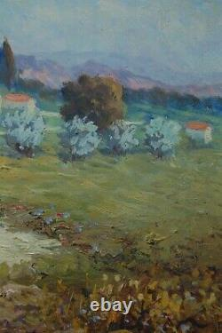 Ancien Tableau Peinture Huile Signe J. Rougier Paysage Provencal Sur Isorel 1960