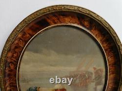 Ancien Tableau Peinture Huile Sur Panneau La Peche Aux Crevettes Signe