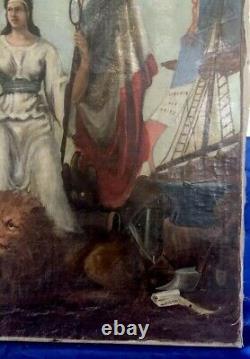 Ancien Tableau Signé 1875 peinture Huile Sur toile Révolution Ésotérique