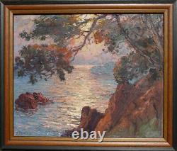 Ancien Tableau Sur Isorel Marine Pierre Forest 1881-1971 Paysage Cote d'Azur