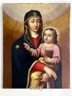 Ancien Tableau VIERGE A L'ENFANT Huile sur Toile Byzantine XVIII ème