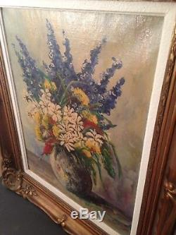 Ancien Tableau W LAMBRECHT (XIX-XXe) Bouquet de fleurs Huile sur toile Signé