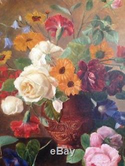 Ancien Tableau XIXe Grand Bouquet de Fleurs et Roses sur entablement c1879