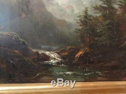 Ancien Tableau XIXe theodore levigne Huile sur panneau paysage montagne torrent
