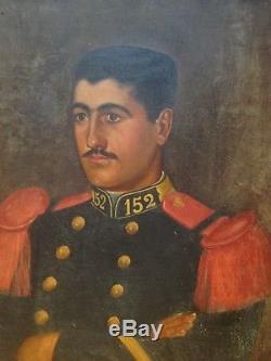 Ancien Tableau XIXeme Portrait Jeune Militaire Huile sur toile 19eme