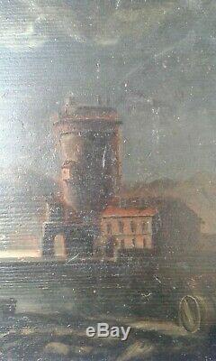 Ancien. Tableau huile sur panneau clair de lune fin 19 ème école française