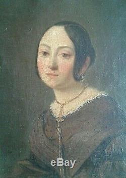 Ancien. Tableaux huile sur toile. Paire Portraits Homme et Dame. Début 19 ème