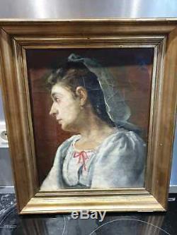 Ancien Taleau, Peinture, Xixeme, Huile Sur Toile, Portrait De Femme, Signe, Date 1880