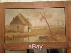 Ancien Trumeau /miroir / huile sur toile, paysage, maison toit de chaume